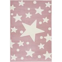 Dětský koberec Hvězdy 100 x 160 cm - růžový / bílý