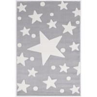 Dětský koberec Hvězdy 100 x 160 cm - šedý / bílý