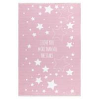 Dětský koberec Milujeme hvězdy 140 x 190 cm - růžový