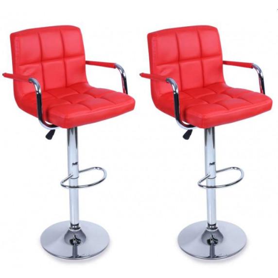 Tresko Barová židle s područkami 2 kusy BH014 Red