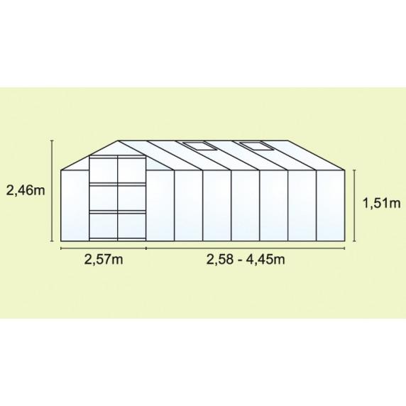 VITAVIA URANUS skleník 11500 matné sklo 4 mm stříbrný