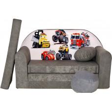 Aga Rozkládací dětská pohovka MAXX 040 - Pohádkové autá/šedá Preview