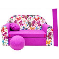 Aga Rozkládací dětská pohovka MAXX 736 - Motýle/ružová Preview