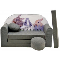 Aga Rozkládací dětská pohovka MAXX 071 - Zajíc/siví Preview
