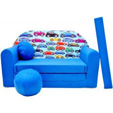 Aga Rozkládací dětská pohovka MAXX 262 - Autá/modrá Preview