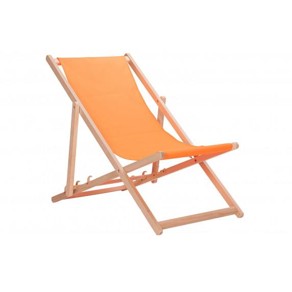 Dřevěné skládací lehátko AGA - oranžové