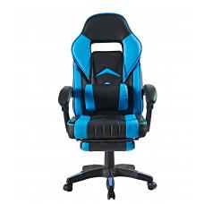 Kancelářská židle s opěrkou pro nohy AGA - černo-světlomodrá Preview