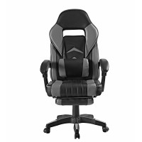 Kancelářská židle s opěrkou pro nohy AGA - černo-šedá