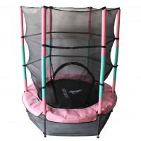 Aga Dětská trampolína 140 cm Pink/Dark Green + ochranná síť