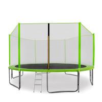 AGA SPORT PRO trampolína 430 cm s vnější ochrannou sítí modrá + žebřík + kapsa na obuv - světle zelená