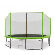 AGA SPORT PRO trampolína 430 cm s vnější ochrannou sítí modrá + žebřík + kapsa na obuv - světle zelená Preview