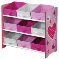Organizér na hračky - růžový se srdíčkem