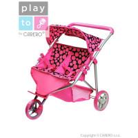 Sportovní kočárek pro 2 panenky Playtime Klaudie růžový