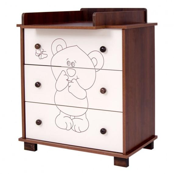 Dětská komoda Drewex Malý medvídek a motýlek - ořechová