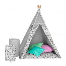 Dětský luxusní stan s výbavou Teepee Akuku šedo-bílý Preview