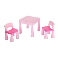 NEW BABY Dětská sada stoleček a dvě židle - růžová