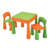 NEW BABY dětská sada stoleček a dvě židle - oranžová