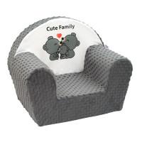 New Baby dětské křeslo z Minky Cute Family - šedé