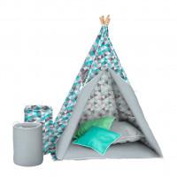 Dětský luxusní stan s výbavou Teepee Akuku - Šedo / modrý