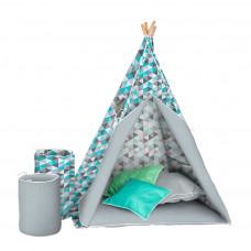 Dětský luxusní stan s výbavou Teepee Akuku - Šedo / modrý Preview