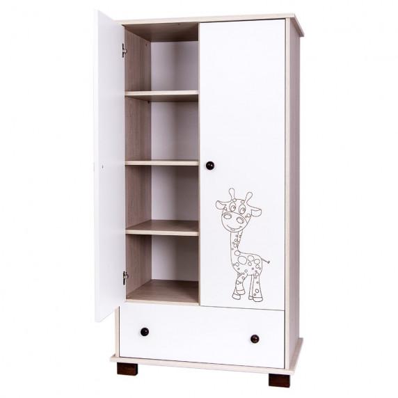 Dětská skříň Drewex Žirafa přírodní