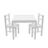 New Baby PRIMA dětský dřevěný stůl s židlemi - Bílý