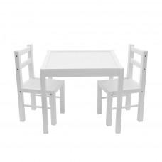 New Baby PRIMA dětský dřevěný stůl s židlemi - Bílý Preview