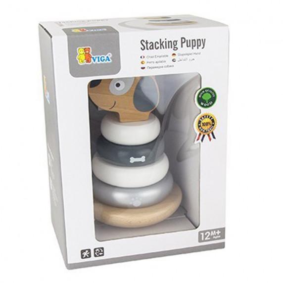 Dřevěná skládací pyramida pro nejmenší Viga Stacking Puppy - Psík