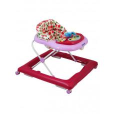 Dětské chodítko Baby Mix s volantem a silikonovými kolečky - tmavě růžové