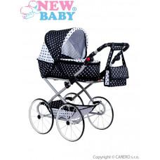 Dětský Retro kočárek pro panenky 2v1 New Baby Natálka bílo-černý Preview