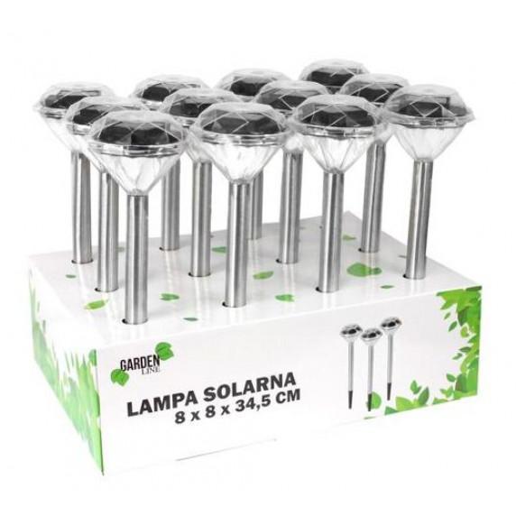 GARDEN LINE Záhradní solární lampa do země Diamond 7,5 x 7,5 x 34,5 cm