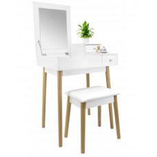 Inlea4Fun Toaletní stolek se zrcadlem a taburetem - bílý