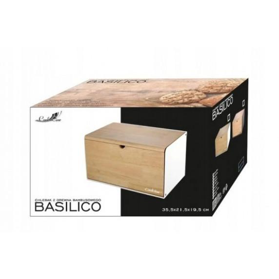 Cook Line BASILICO Chlebník s bambusovým víkem a dvířky - bílý