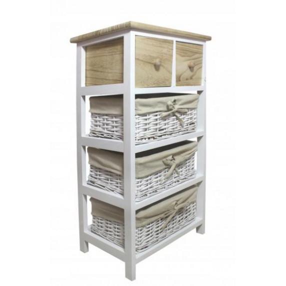 Komoda se 2 zásuvkami a 3 ratanovými košíky 40 x 29 x 73 cm InGarden - přírodní hnědá