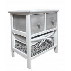 Komoda se 2 zásuvkami a ratanovým košíkem 40 x 29 x 43 cm InGarden - šedá Preview