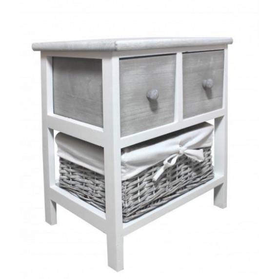 Komoda se 2 zásuvkami a ratanovým košíkem 40 x 29 x 43 cm InGarden - šedá