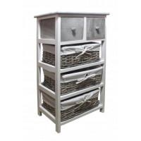 Komoda se 2 zásuvkami a 3 ratanovými košíky 40 x 29 x 73 cm InGarden - šedá