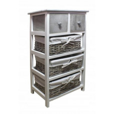 Komoda se 2 zásuvkami a 3 ratanovými košíky 40 x 29 x 73 cm InGarden - šedá Preview