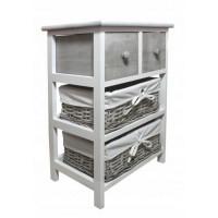 Komoda se 2 zásuvkami a 2 ratanovými košíky 40 x 29 x 58 cm InGarden - šedá