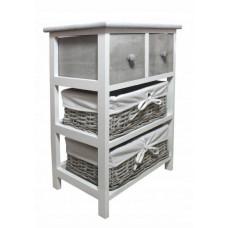 Komoda se 2 zásuvkami a 2 ratanovými košíky 40 x 29 x 58 cm InGarden - šedá Preview
