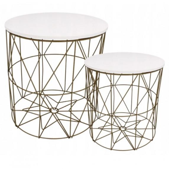 Konferenční stolek 40/42,5 cm Inlea4Home 9077 - zlatý/bílý