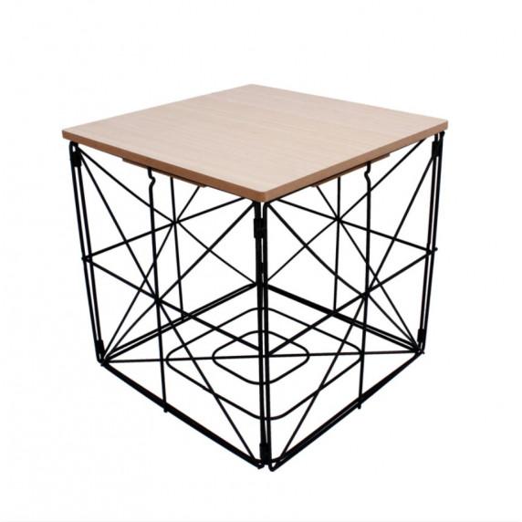 Konferenční stolek kostka 30cm Inlea4Home 9237- černý/natur