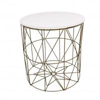 Konferenční stolek 35/36,5 cm Inlea4Home 9060 - zlatý/bílý