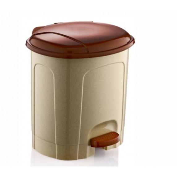 Odpadkový koš s pedálem, plastový 5,5 l Inlea4Home - béžovo-hnědý