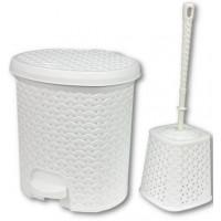 Odpadkový koš v ratanovém designu 5,5 l s WC štětkou Inlea4Home - bílý