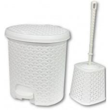 Odpadkový koš v ratanovém designu 5,5 l s WC štětkou Inlea4Home - bílý Preview