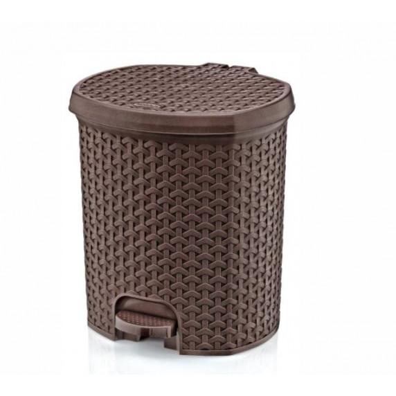 Odpadkový koš v ratanovém designu 11,5 l Inlea4Home - hnědý