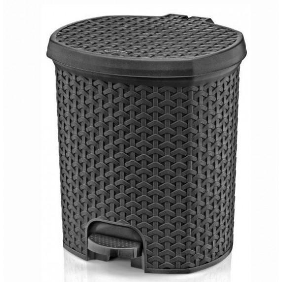 Odpadkový koš v ratanovém designu 21 l Inlea4Home- šedý