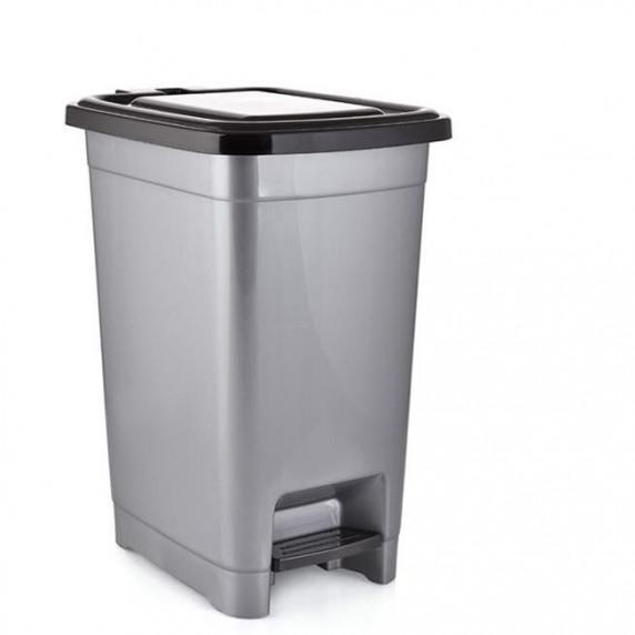Odpadkový koš s pedálem, plastový 10 l Inlea4Home - šedý