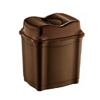 Odpadkový koš se sklopným víkem 28 l  Inlea4Home - hnědý